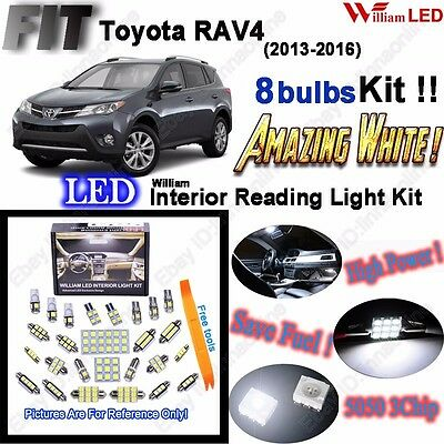8 Bulbs LED Interior Light Kit Xenon White Room Lamps For Toyota RAV4 2013-2016