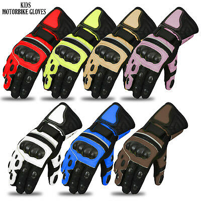 Kids Motorbike Cowhide Leather Gloves Protection Bikers Motorcycle Glove