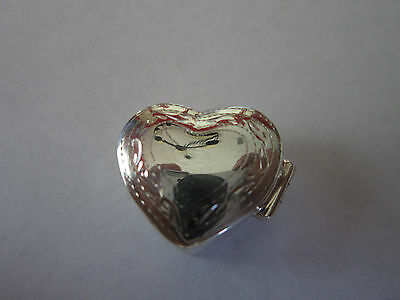 Sterling Silver Pill Box Heart shape engraved 925 slid silver 13/16 wide