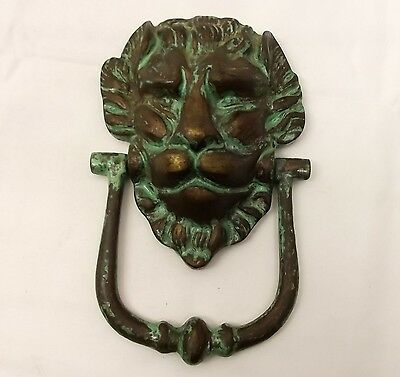 Vtg Heavy Brass Lion Head Door Knocker Architecture Hardware Antique Gargoyle