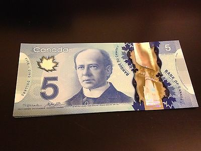 TWO Crisp New $5.00 bills - Bank of Canada - Sequential Serial Numbers POLYMER