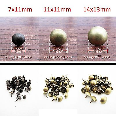 50/100X Antique Brass Upholstery Nail Jewelry Gift Box Sofa Decorative Tack Stud