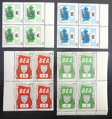 GB British European Airways in U/M MNH Marginal Blocks of 4 NEW PRICE FP6825