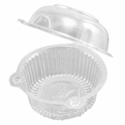 513Q4 50 x Single Plastic Clear Cupcake Holder / Cake Container