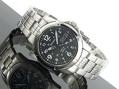 BRAND NEW Seiko Gents Solar Powered Stainless Steel Black Dial Watch SNE095P1