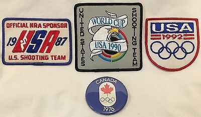 Olympics/World Cup patches/badge:'87,'90 NRA, Shooting Tm, '92 USA, '76 Canada