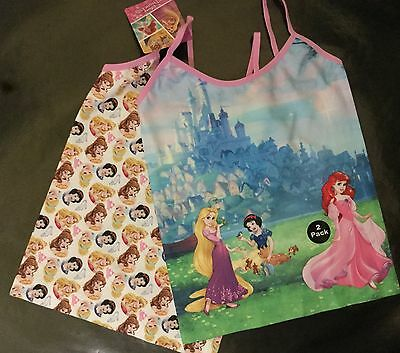 Girls 2 pack Cami Vests with Disney Snow White, Ariel and Rapunzel detail