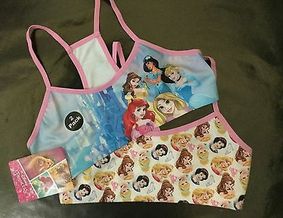 Girls 2 pack Crop Top vest with Disney Snow White, Ariel, Rapunzel & Princess