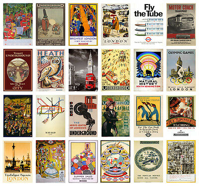 VINTAGE LONDON UK Retro Underground A4 A3 POSTERS 40 DESIGNS BUY 1 GET 2 FREE