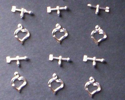 30 - Bright Silver Heart Toggle Clasps-14mm+FREE-50 earring hooks      (2C10)