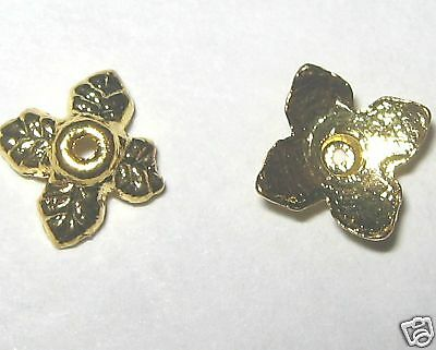 200 - 14kt Gold Plated Bead Caps-6mm+FREE-50 matching earring hooks    (2B18)