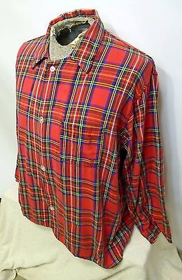 Vintage LL Bean Men's Red Blue Green Plaid Pajamas Sleepwear Sz Large Made in US