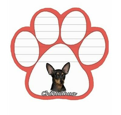BLACK & TAN CHIHUAHUA 50 Sheet Paw Print Shape Sticky Note Pad w/ Magnetic Back