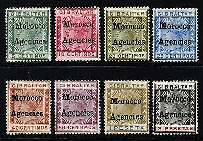 Morocco 1898-1900 Queen Victoria optd. set to 2p., MH (SG#1/8)