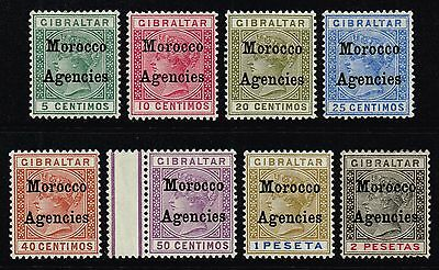 Morocco 1899 Queen Victoria optd. set to 2p., MH (SG#9/16)