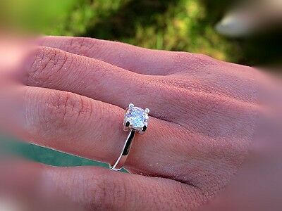 925 Sterling Silver Ring,Solitaire, SOLID, Size W * UK STOCK *