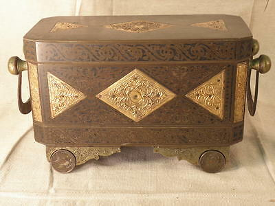 South East Asian Inlaid Brass Betel Box With Us Coin Feet  Circa 1950