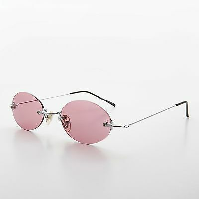 90s Vintage Rimless Oval Rose Colored Lens Sunglasses  - Piper