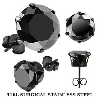 9mm Black Studs 316L Stainless Steel Earrings with Round Black CZ