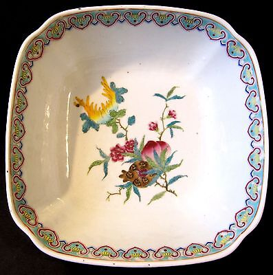 Lg Antique Chinese Famille Rose w/ Anhua Footed Square Bowl 18th Century Teacher