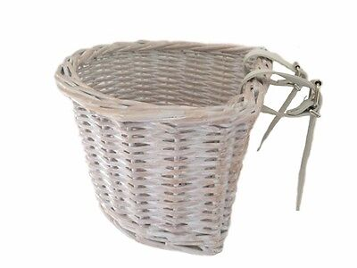 Bicycle Bike Kids Girls Boys Childrens Childs Front Basket White Wash Wicker