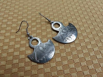 NIGER African Ethnic Jewelry Tuareg TOUAREG GOFED CROSS Silver Earrings BB