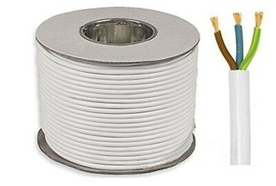 Electrical cable 3 core 13 amp round white mains flex 1.5mm by the meter