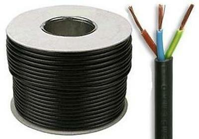 3 core 15 amp round black electrical mains cable wire flex 240v various lengths