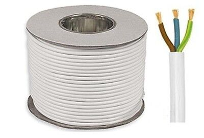 3 core 15 amp round white electrical mains cable wire flex 240v various lengths