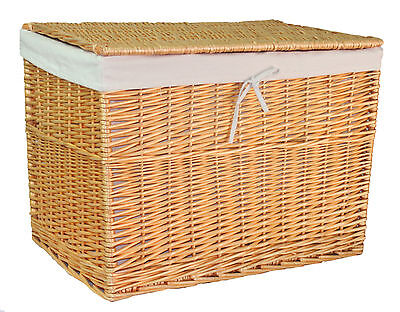 Wicker Chest Storage Trunk Willow Box Lid Toy Blanket Linen Basket Large Cotton