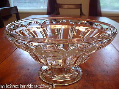 Large Antique Pressed Flint Glass Footed Compote Bowl C1850-60