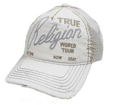 New True Religion Unisex Baseball Distressed White Logo Buddha Trucker Hat Cap