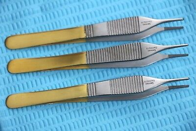 """3 T/c German Grade Adson Dressing Forceps 4.75"""" With Tungsten Carbide Inserts"""