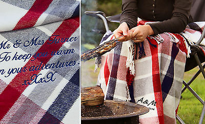 Camping Blanket Throw Personalised 2nd Wedding Anniversary Gift, Cotton Gift