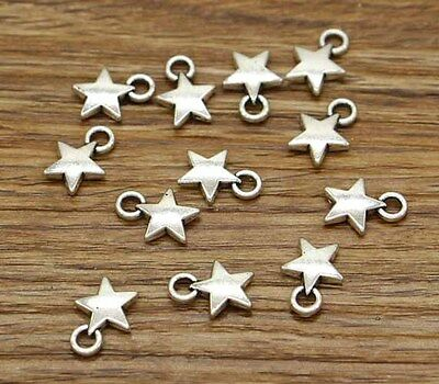 50pcs Star Charms Antique Silver Tone Tiny Small Star 14*11mm