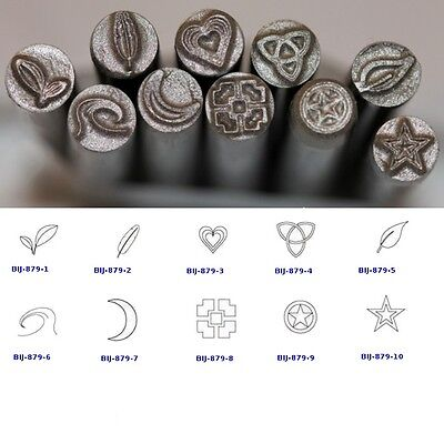 KENT 5mm Precision Individual Metal Punch Stamps: Leaves, Heart, Stars, Moon