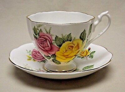 Queen Anne Fine Bone China England Yellow and Pink Roses Tea Cup and Saucer