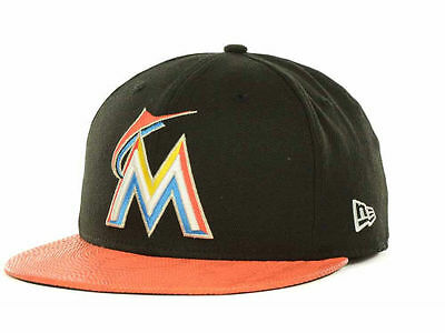 MIAMI MARLINS Hat New Era 59FIFTY SNAKE THRU Cap Black Orange ( 37) Fitted  MLB fe6793f2091