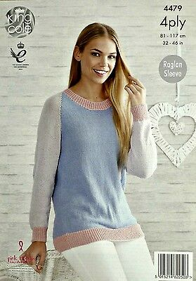 KNITTING PATTERN Ladies Long Sleeve Round Neck Jumper Bamboo Cotton 4ply 4479