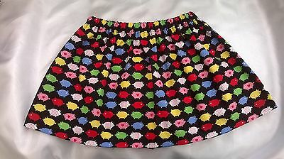 """ Little Pigs"" Print Handmade Girls Skirt   0 - 6 Years Old"