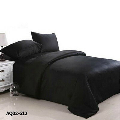 Black Doona Duvet Quilt Cover Set Double Queen King Size Bed Fitted Sheets Set
