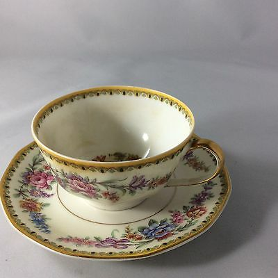 Theodore Haviland Limoges France Vendome Tea Cup And Saucer Set Collectible Flor