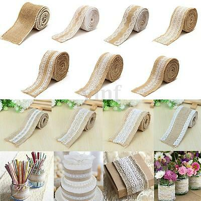 1-5M Natural Jute Burlap Hessian Ribbon Lace Trims Edge Rustic Wedding Decor