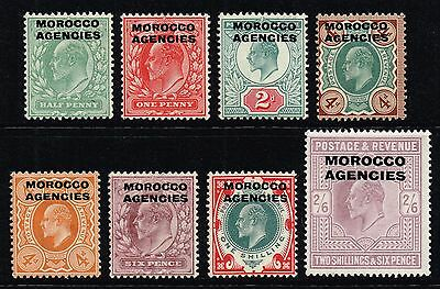 Morocco 1907-13 King Edward VII set to 2s.6d., MH (SG#31/38)