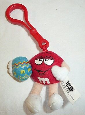Red Easter M&M Plush Keychain Backpack Clip - 2006 Holiday Easter Egg Cute MM