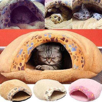 Pet Dog Cat Kitten Puppy Soft Plush Igloo Bed Warm Cave House Mat Slippers Snug
