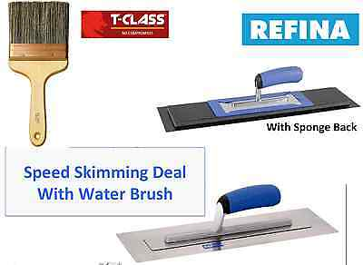 "REFINA 12"" Speed Skimming Set Deal Superflex & Plaziflex Trowel & 6"" Wall Brush"