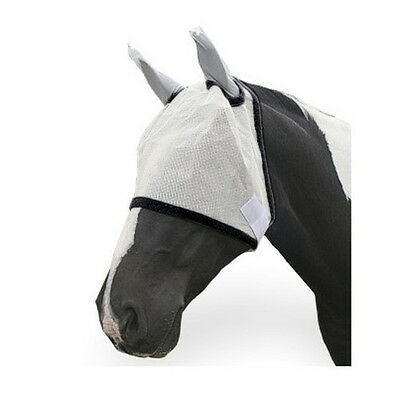 Aerborn Horse Fly Mask With Ear Protection Pony Cob Horse White