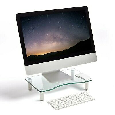 VonHaus Clear Curved Glass Computer Monitor TV Screen Display Riser Mount Stand