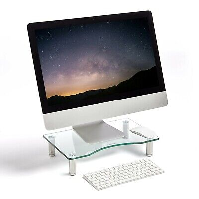 VonHaus Clear Monitor Mount Curved Glass Computer Monitor TV Screen Riser Stand